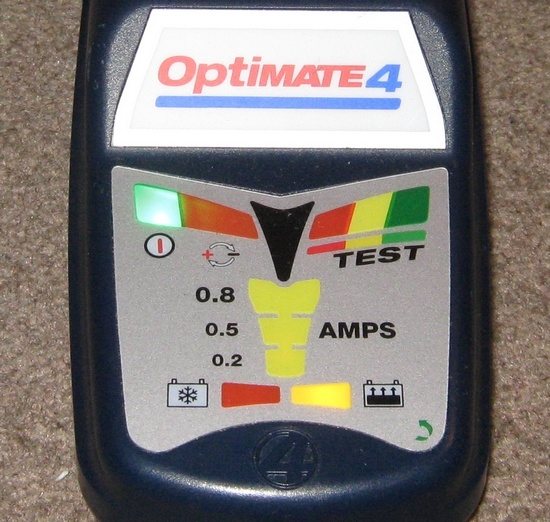 OptiMate 4 batterioplader lamper