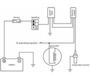Sym Jet karburatorvarmer el diagram med power filter og thermo switch